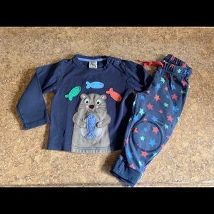 Frugi Sea Otter Set with Star Pants 18-24